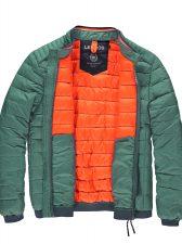oranje binnenvoering van groene gewatteerde jas van lerros