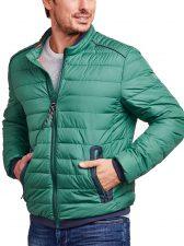 groene gewatteerde heren jas (gestept) van Lerros