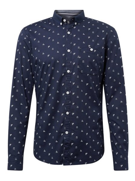 1013340_19525_7 Tom Tailor denim overhemd met kleine print marine blauw